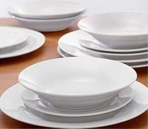 Crystal Ensemble à dîner en porcelaine 12 pièces Blanc