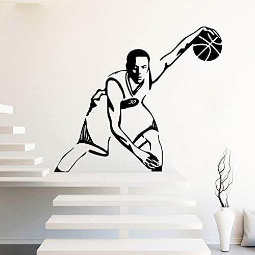 woyaofal Basketball Stars 30 Stephen Vinyl s Für Jungen Zimmer Natur Schlafzimmer Dekor Wandtattoos Dekoration Golden State L 43 cm X 37 cm -
