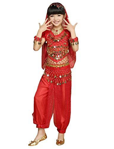 Indien Kostüm Tanz - besbomig Kinder Mädchen Bauchtanz Kostüm - Kinder Chiffon Ziemlich Indien Tanz Outfit Performance-Kleid 5 Stück Set