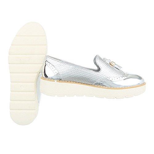 Slipper Damenschuhe Low-Top Moderne Ital-Design Halbschuhe Silber 62038