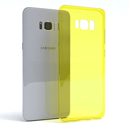 "EAZY CASE Handyhülle für Samsung Galaxy S8 Plus Hülle - Premium Handy Schutzhülle Slimcover ""Brushed"" Aluminium Design - TPU Silikon Backcover in brushed Lila Yellow - Clear"