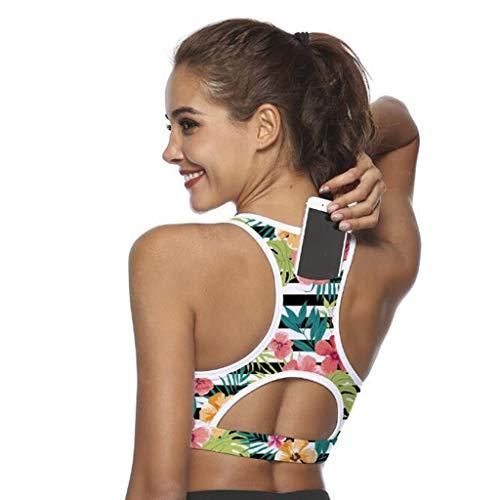 Zurück Elasthan (Sport-BH Zurück Handytasche Stoßfest Yoga mit 3D-Druck-BH Damen, Oyedens Frauen-Einteiler Sport-BH Breathable Fitness Bunter Yoga-BH mit Tasche)