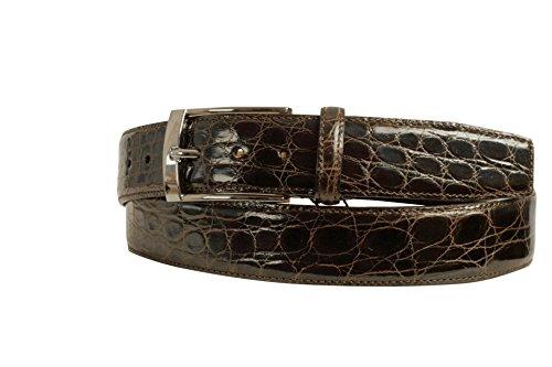 Scabal Exclusiv Krokodilleder-Gürtel für Damen und Herren, in Dunkel-Braun, mit klassischer Metallschnalle und innen mit hochwertigem Nubuck-Leder, Gürtel-Länge 95 cm