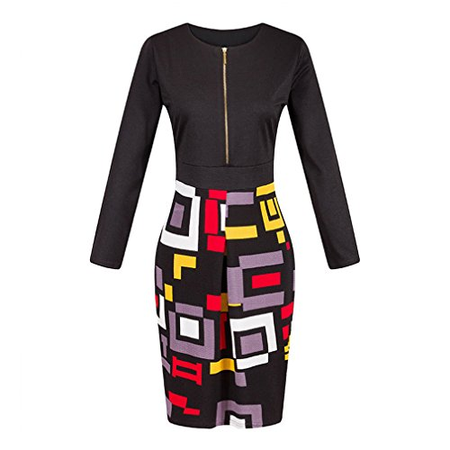 Lukis Damen Cocktailkleid Geometrie Hit Farbe Business Kleid Schwarz