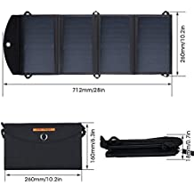IFITech 25W 5V 2 USB Solar Power Panel, Foldbale Charger With Bag,Hooks and USB Cable- Mobile Solar PowerBank