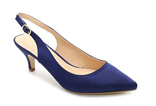 ComeShun Damen Schuhe Slingback Kitten Heels Kleid Court Pumpen Schuhe, Blau - Blau - Größe: 39 (Verkauf Frauen Schuhe Für Pumpen Auf)