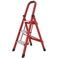 Bseack_store Plegable de 3 Pasos de Escalera del hogar Escalera de Aluminio Pedal Ampliación de la Escalera móvil multifunción for Limpieza de Interior/Escalada (Color : Red)
