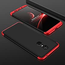 Redmi Note 5 Front Back Case Cover Full Body 3-in-1 Slim Fit Complete 3D 360 Degree Protection Hybrid Hard Bumper (Black Red)