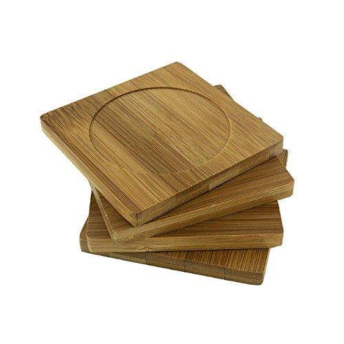 bamboomn Marke-100% umweltfreundlich Natürliche Bambus Untersetzer Set-10,2x 10,2cm quadratisch, 4 Coaster Set, 2 Sets Bambus Coaster Set