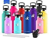 KollyKolla Vakuum-Isolierte Edelstahl Trinkflasche, 350ml BPA-frei Wasserflasche mit Filter, Thermosflasche für Kinder, Mädchen, Schule, Kindergarten, Sport, Wandern, Camping, Outdoor, Navy blau