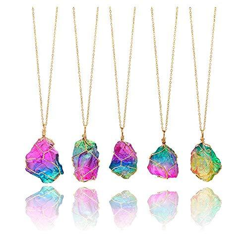 Scpink vendita liquidazione, liquidazione offerte arcobaleno pietra naturale cristallo chakra rock collana gioielli regalo pendente al quarzo (colore)