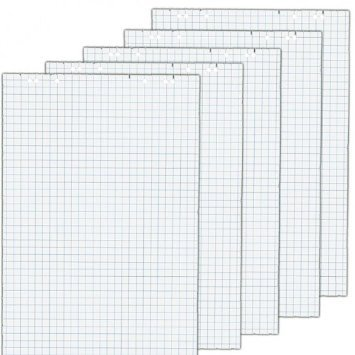 5x Flip Chart Pads, each pad – 20 Blattvorder and back Blanco White Quality: White, 80 g/Qmausführung: 6 Compartment multi-punched and Perforiertgröße: 68x99 cm