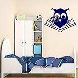 Vinilo de pared Decal Inteligente Búho Académico Libro de Lectura Niños Decoración Interior Arte Extraíble74x96cm