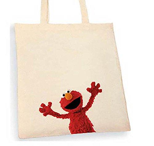 Sesame Street Elmo Tote bag. Beige cotton bag, Cotton Tote Bag, Can be used as a bag for life shopping bag, handbag, fashion bag, school bag, beach bag, shoulder bag. - handmade-bags