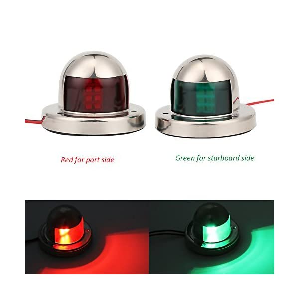 Youngine LED Navigation Bow Light Stainless Steel 12V Marine Boat Yacht Light Sailing Signal Lamp, Red & Green