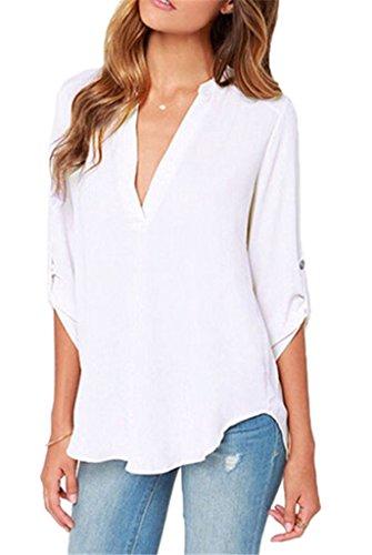 Smile YKK Chemisier Femme Grande Taille T-shirt Mousseline de Soie Blouse Col V Casual Soirée Mode Blanc