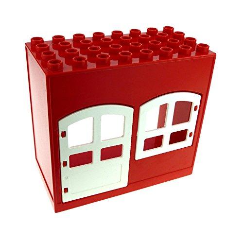 6-zimmer-haus (1 x Lego Duplo Gebäude Haus rot weiss 4x8x6 schmal Zimmer Tür Tor Fenster Puppenhaus 31023 31022 6431)