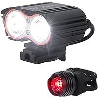 VICTAGEN Luce frontale per bici, fanalino luminoso, ricaricabile tramite USB, faro con doppio LED, facile da installare per tutti i tipi di sport, impermeabile.