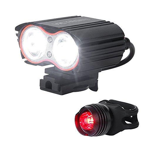 Victagen Bike Front Light, super helle wasserdichte Fahrrad Scheinwerfer, USB wiederaufladbare 2400 Lumen Road Bike Scheinwerfer, kostenlose Rückleuchte, einfach zu installieren LED-Taschenlampe für Radfahren, Pendeln