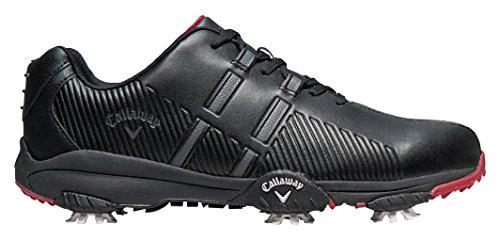 Callaway Chev Mulligan, Chaussures de Golf Homme, Noir (Black/Black/Crimson), 41 EU
