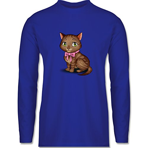 Shirtracer Katzen - Kätzchen mit Schleife - Herren Langarmshirt Royalblau