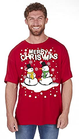 Adults Novelty Xmas T-Shirts - Snowman Red - Large