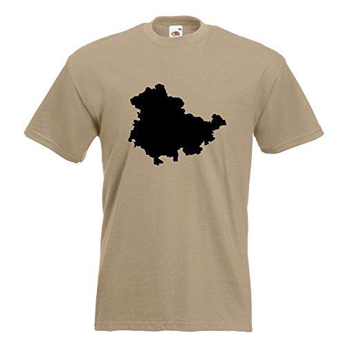 KIWISTAR - Thüringen Deutschland Silhouette T-Shirt in 15 verschiedenen Farben - Herren Funshirt bedruckt Design Sprüche Spruch Motive Oberteil Baumwolle Print Größe S M L XL XXL Khaki