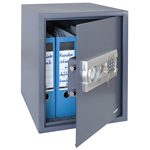 Preisvergleich Produktbild HMF 4612812 Tresor, Möbeltresor A4 Ordner, Elektronikschloss, 48,0 x 36,0 x 37,0 cm, anthrazit