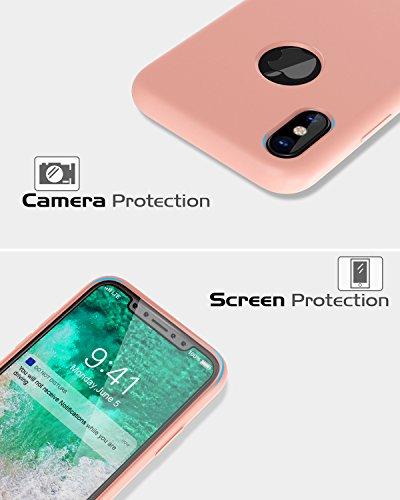 MoKo Hülle für iPhone X - Ultra Slim Weiche Haut Flexible Silikon Schutzhülle Schale Gel Gummi Anti-Kratzer Phone Case Cover Etui Bumper für Apple iPhone X / iPhone 10 2017 Smartphone, Weiß Rosa sand