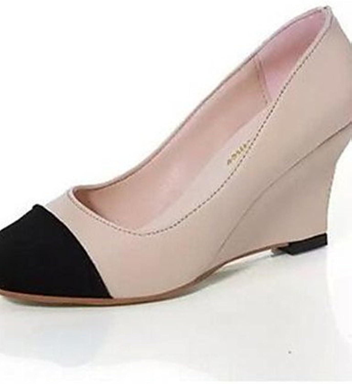 ZQ Zapatos de mujer-Tac¨®n Cu?a-Cu?as-Tacones-Oficina y Trabajo / Vestido-Sint¨¦tico-Azul / Rojo / Beige , red-us8.5...