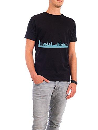 """Design T-Shirt Männer Continental Cotton """"DÜSSELDORF 08 Skyline Pastel-Blue Print monochrome"""" - stylisches Shirt Abstrakt Städte / Düsseldorf Architektur von 44spaces Schwarz"""