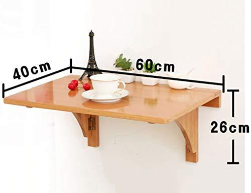 vfdg Drop Leaf Tisch, Wandbehang Klapptisch Esstisch Wandtisch Computertisch Lerntisch Schreibtisch Original, Bambusfarbe Weiß,Weiß,60 * 40 cm -