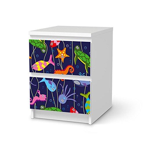 Preisvergleich Produktbild Möbelfolie für IKEA Malm 2 Schubladen | Design Kindermöbel Möbeldeko Klebesticker Aufkleber Folie | fröhliche Einrichtungsideen IKEA Möbelfolie Kinder Wandtattoo | Kids Kinder Underwater Life