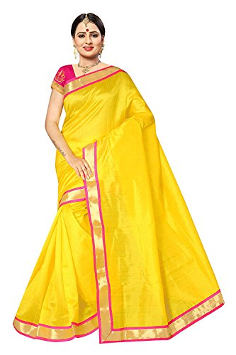 Dencraw Women\'s Bhagalpuri Art Silk Saree with Blouse Piece (Yellow, Free Size)