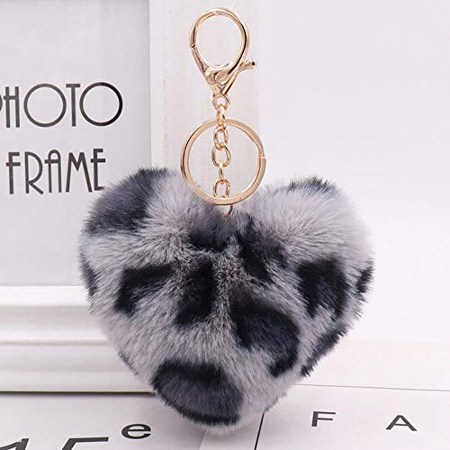 aux fur Keychain Women Bag Charms Pompoms Hanging car Keyring Jewelry Heart Shaped Trinket,Grey ()
