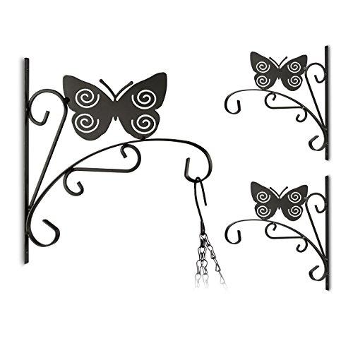 3x Blumenhaken mit Schmetterling-Motive, Blumenampelhalter für Wand, Metall Garten-Deko, schwarz -