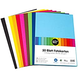 perfect ideaz cartulina cuché A4 de colores 50 hojas, cartulina, de color, en 10 colores diferentes, grosor de 300g/m², hojas de la máxima calidad