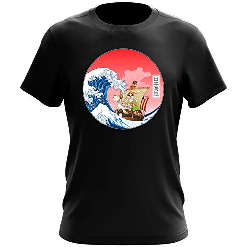 T-Shirt Noir One Piece parodique La Grande Vague de Kanagawa et Le Vogue Merry : Pirates en mer du Japon. : (Parodie One Piece)