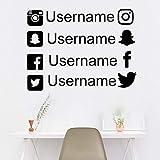 jiuyaomai Personalizzato Instagram Snapchat Twitter Facebook Personalizzato Car Wedding Window Sticker Decalcomania Nome Art Hashtag Social Media Vinile 56cmwidex42cmhigh
