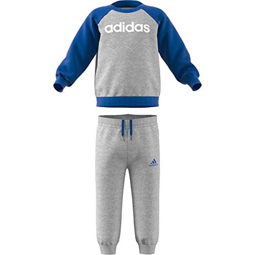 adidas Baby Linear Jogger Fleece Trainingsanzug, Medium Grey Heather/Blue/White, 74