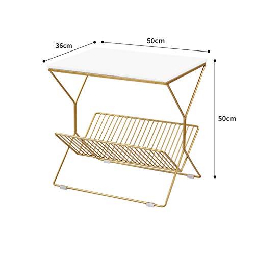 XUE-BAI Table latérale Nordique Table de Chevet Moderne Petite Table Basse en Fer Table de Chevet canapé Table Fin 50 * 36 * 50CM,White
