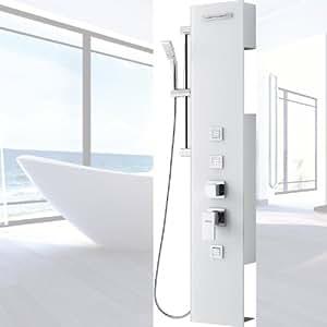 luxus glas duschpaneel amazonas iii wei duschs ule duschset regendusche neu brausepaneel. Black Bedroom Furniture Sets. Home Design Ideas