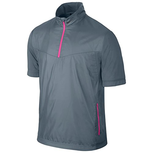 Nike Lightweight Pullover (Nike Shield Short Sleeve WIndproof Half-Zip Lightweight Mens Golf Jacket Blue Graphite Small)