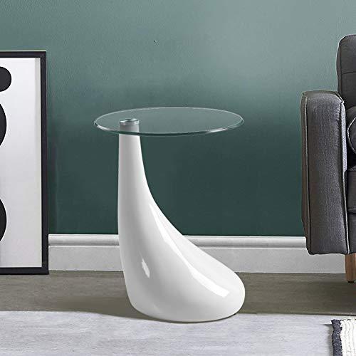 GOLDFAN Table Basse en Verre Haute Brillance Table d'appoint avec Base Laqué Petite Table à Thé Design Scandinave,42x55cm,Ronde, Blanche