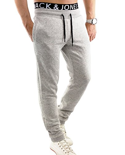 JACK & JONES Sweat Pants Herren jcoLIGHT Jogginghose Trainingshose Fittnesshose Sweatpant Regular Fit (M, Grau (Light Grey Melange Fit:REG))