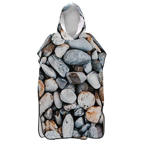 LORONA Strandtuch mit Kieselsteinen und Steinen, schnelltrocknend, Strandumhang, Bademantel, Wickeltuch, Bademantel, für Damen und Herren, mit Kapuze -