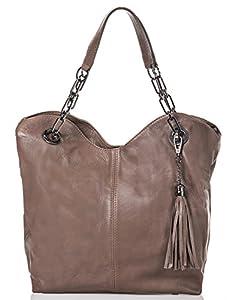 italienische Damen Handtasche Prag aus echtem Leder in milchkaffee braun, Made in Italy, Shopper Bag 42x28 cm