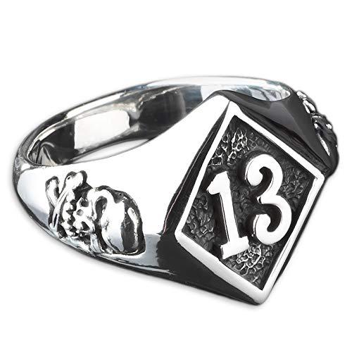 viva adorno Herren Ring Lucky Dreizehn 13 Totenkopf Skull Bones Siegelring Daumenring 925 Sterlingsilber SR23, Gr. 70