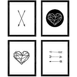 Set de 4 láminas para enmarcar de formas geométricas.