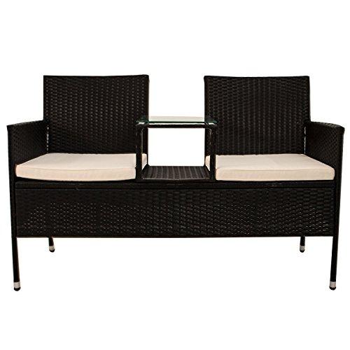 Polyrattan Gartenbank Monaco mit integriertem Tisch für 2 Personen - 3